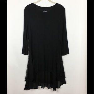 LOGO Lori Goldstein Tunic Top Lace Black XS
